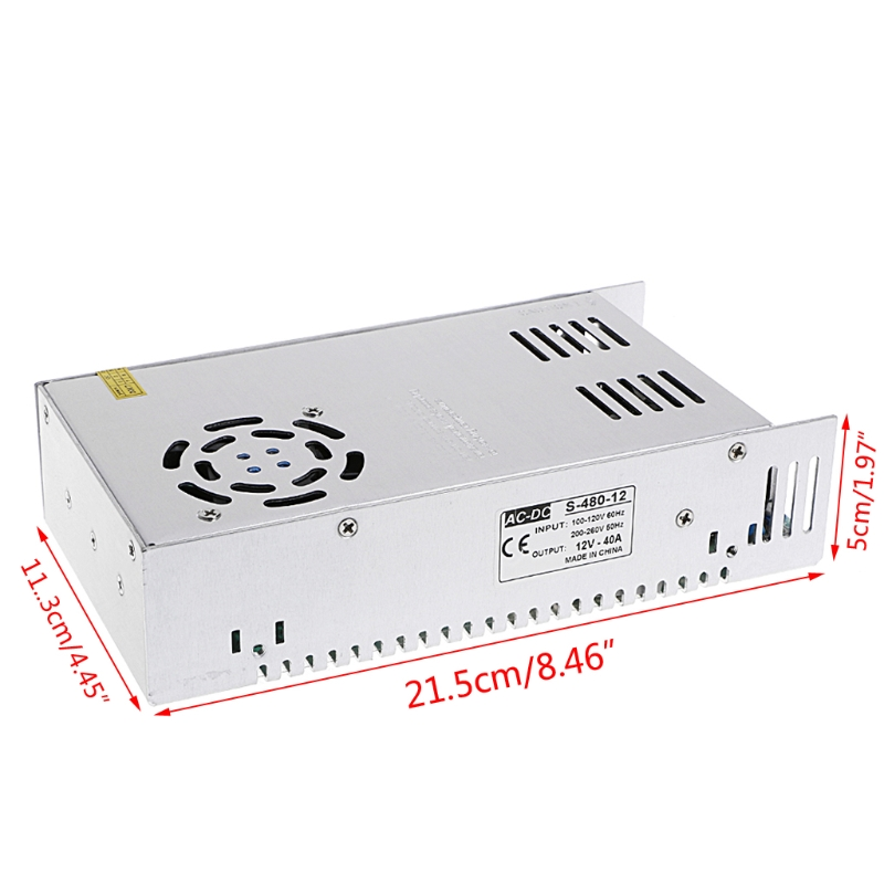 AC 100-260V To DC 12V 40A 480W Switch Power Supply Driver Adapter LED Strip Light  W315