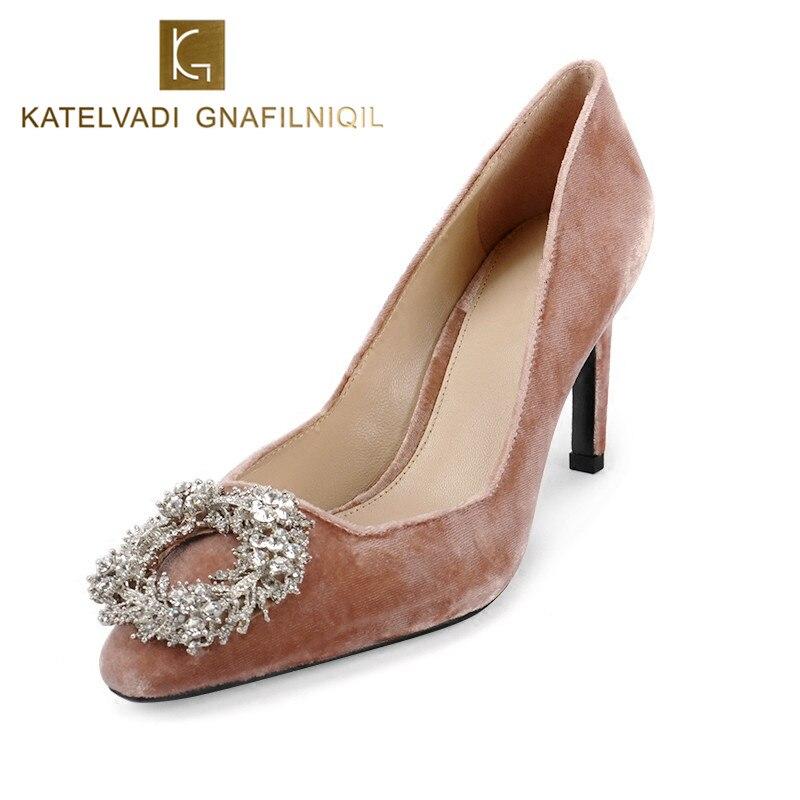 2018 Обувь женщина Высокие каблуки со стразами свадебные туфли Насосы 8.5 см Высокие каблуки бархат Насосы со стразами Обувь Chaussures Femmes b-0239