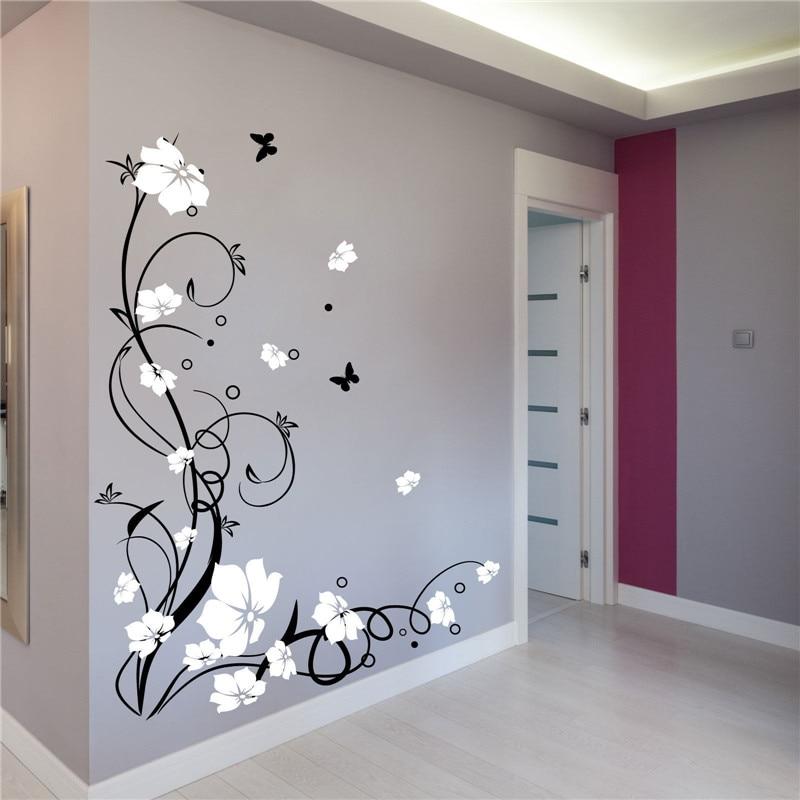 J3 Grand Papillon Vigne Fleur Vinyle Amovible Stickers Muraux Arbre Mur Art Stickers Mural pour salon Chambre Décor À La Maison