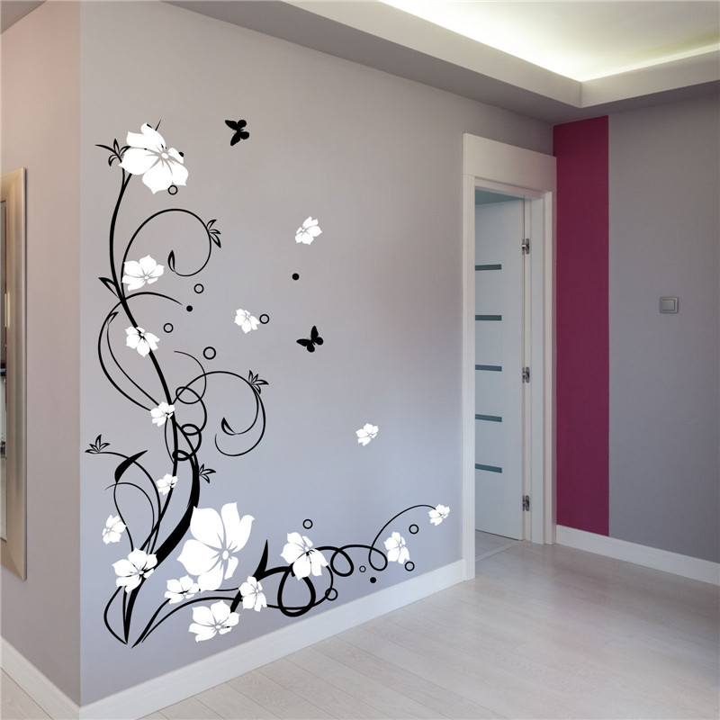 J3 Large Butterfly Vine Flower Vinyl Removable Art Wall Stickers Tree Wall  Decals For Living Room