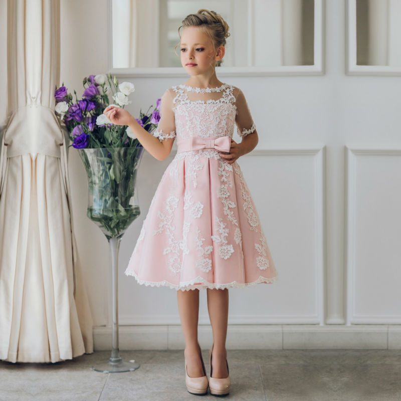 2017 A-Line Flower Girls' Dress for Weddings Sleeveless Pageant Dresses for Little Girls Lace Mother Daughter Dresses With Bow sleeveless pageant dresses for girls tulle flower girl dress for weddings sequined girls pageant dresses mother daughter dresses