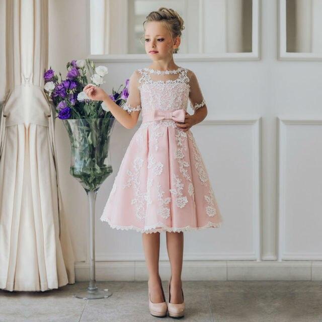 2017 a linie Blumenmädchen Kleid für Hochzeiten Ärmel Festzug ...