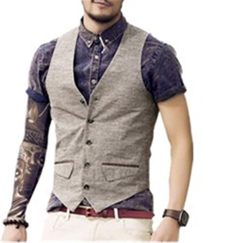 New Men s Slim Vest Suit Single Row Button Casual linen Vest Waistcoats Men s brand