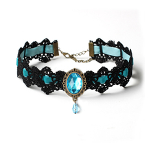 Bohemia Lace Gothic Tattoo Choker Necklace Women Vintage Black Red Blue Crystal Necklaces Gothic Punk Collar Choker Jewelry