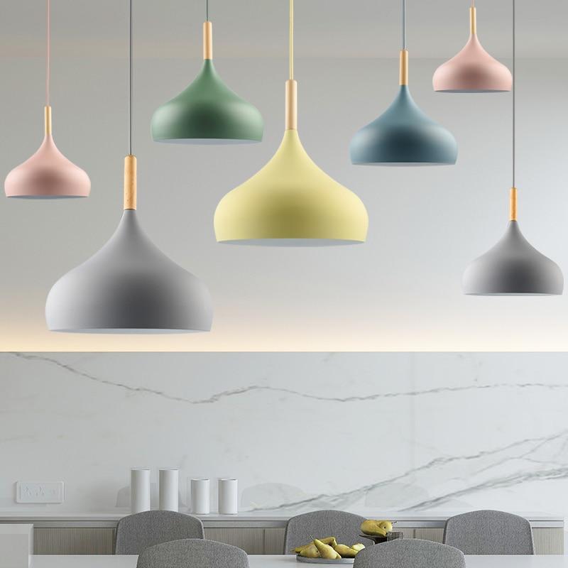 LED Pendant Light Lamp Living Room Restaurant Lampshade Dinning Room Lighting Modern Hanglamp Nordic Kitchen Wood Light Fixture
