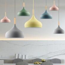 цена LED Pendant Light Lamp Restaurant Lampshade Living Dinning Room Bar Coffee Shop Modern Hanging Lighting Colorful Macaron Wood онлайн в 2017 году