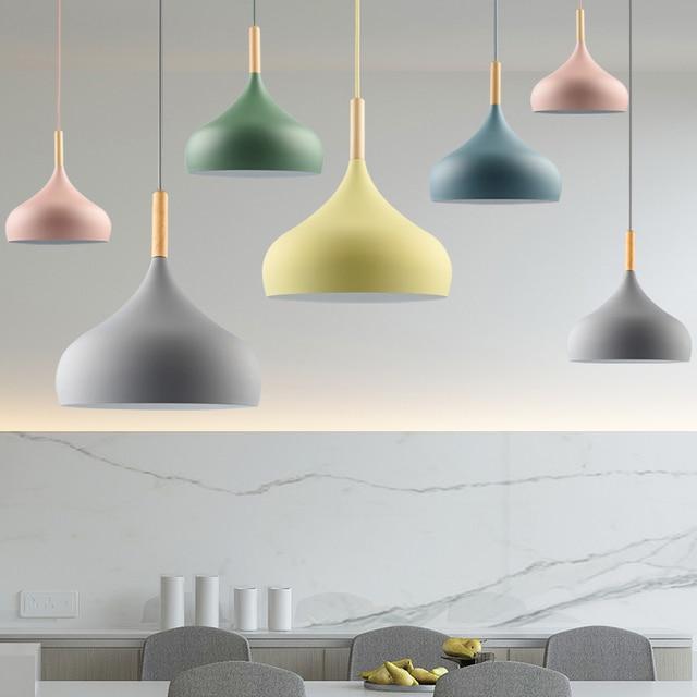 Pendant Light lamp Creative Restaurant lampshade Living Dinning Room Bar Coffee Shop Modern Hanging Lighting Colorful Macaron