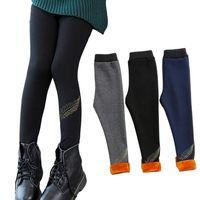 Autumn Winter Leggings For Girls Bottoming Pants Thicken Plus Velvet Trousers For Kids Bottoms 6 8