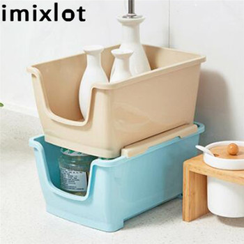 Imixlot Plastic Stackable Storage Box Desktop Coffee Table Dressing Finishing Tool Remote Control Cosmetic Storage Basket desktop multi color skin care products finishing box home dressing table cosmetics storage plastic flower carving
