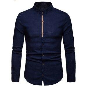 Image 3 - Mens Pure White 100% 리넨 셔츠 만다린 칼라 긴 소매 남성 드레스 셔츠 캐주얼 비즈니스 작업 플러스 사이즈 Chemise Homme Tops