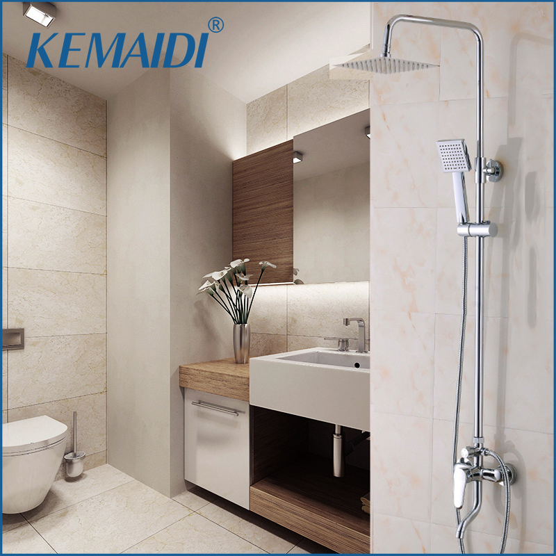 KEMAIDI Concise Style Bathroom Rainfall Shower Head System Polished Chrome Bath & Shower Faucet Mixer Shower Set W/ Hand Spray sognare new wall mounted bathroom bath shower faucet with handheld shower head chrome finish shower faucet set mixer tap d5205