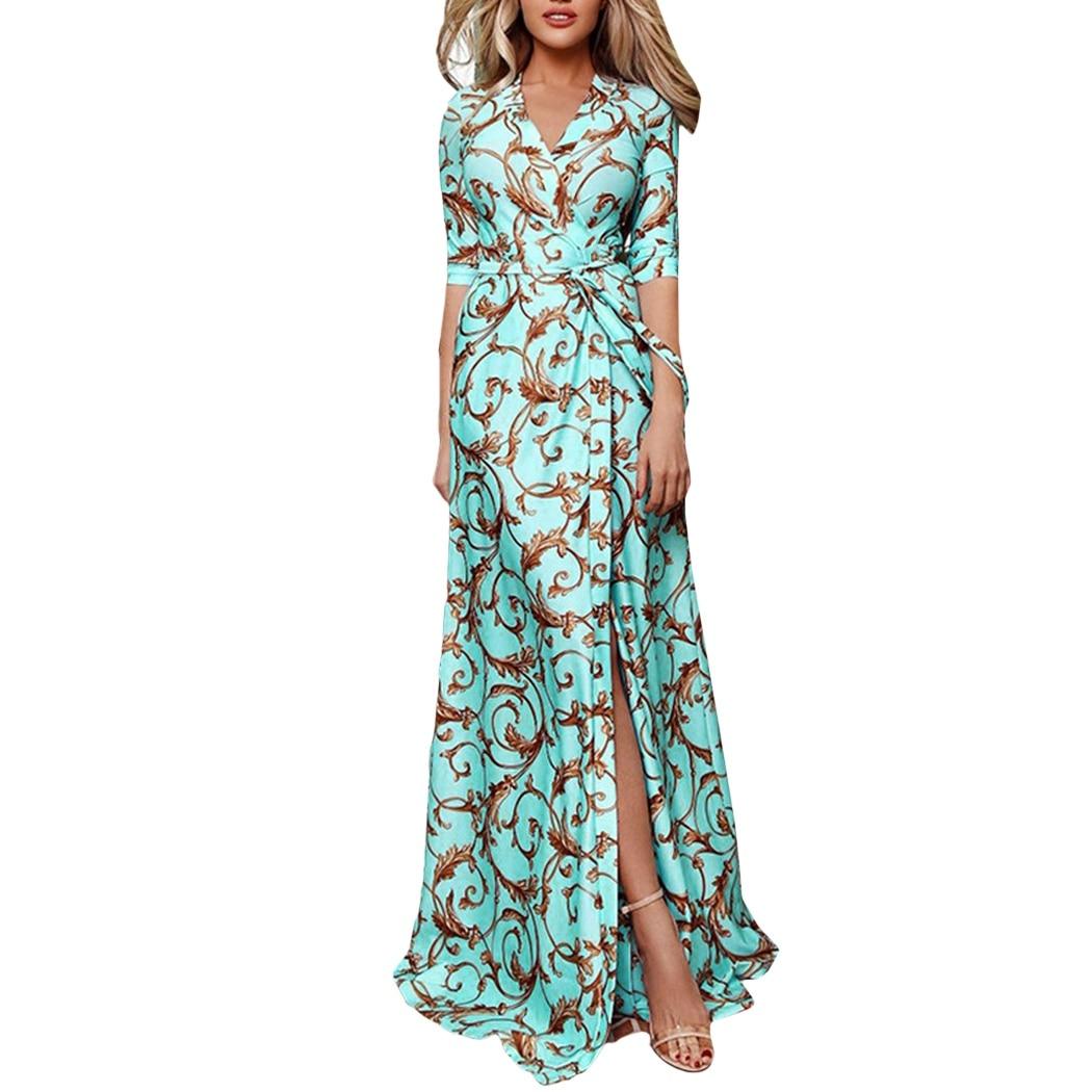 Women Floral Print Maxi Dresses 2019 Bohemian Half Sleeve V Neck Lace Up Dress Ladies Summer Split Beach Dresses Femme Vestidos