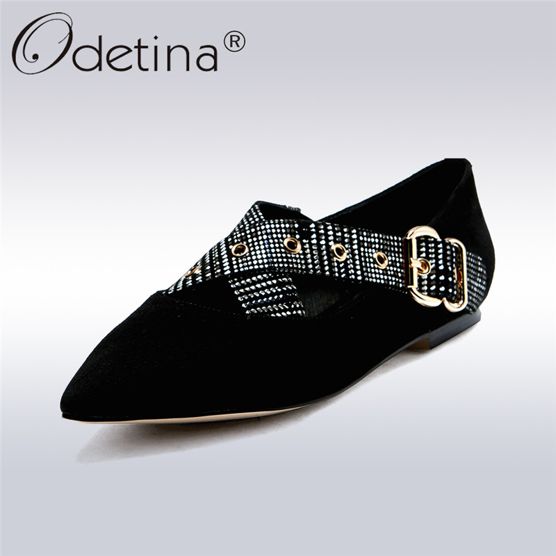 Odetina 2018 New Fashion Spring Genuine Leather Ballet Flats For Women Pointed Toe Cross Buckle Strap Female Elegant Shoes Lady odetina 2017 new summer women ankle strap ballet flats buckle hollow out flat shoes pointed toe ladies comfortable casual shoes