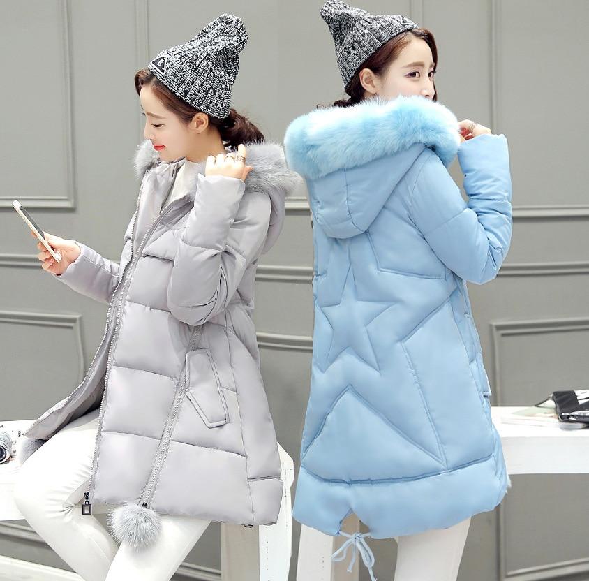 Kış yeni ceket ceket kadın büyük yaka yaka Bir sürümü kalın aşağı ceket pamuk kadın uzun paragraf boyutu
