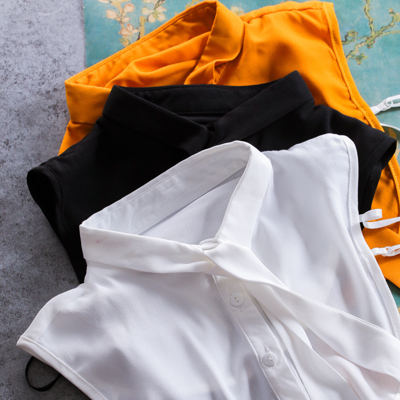 Bow Ribbon Pearl Necklace Women Shirt False Collar Stand Collar Shirt Fake Collar