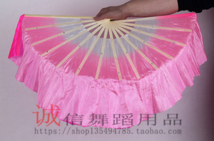 Image 4 - Chinese Traditional Polyester Fans Veils with 2 sides Gradient color Stage Show Props Fans double side different colors