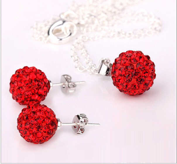 Wholesale  red crystal jewelry set 10mm stud Earrings + crystal pendant jewelry sets silver Colour No. 925