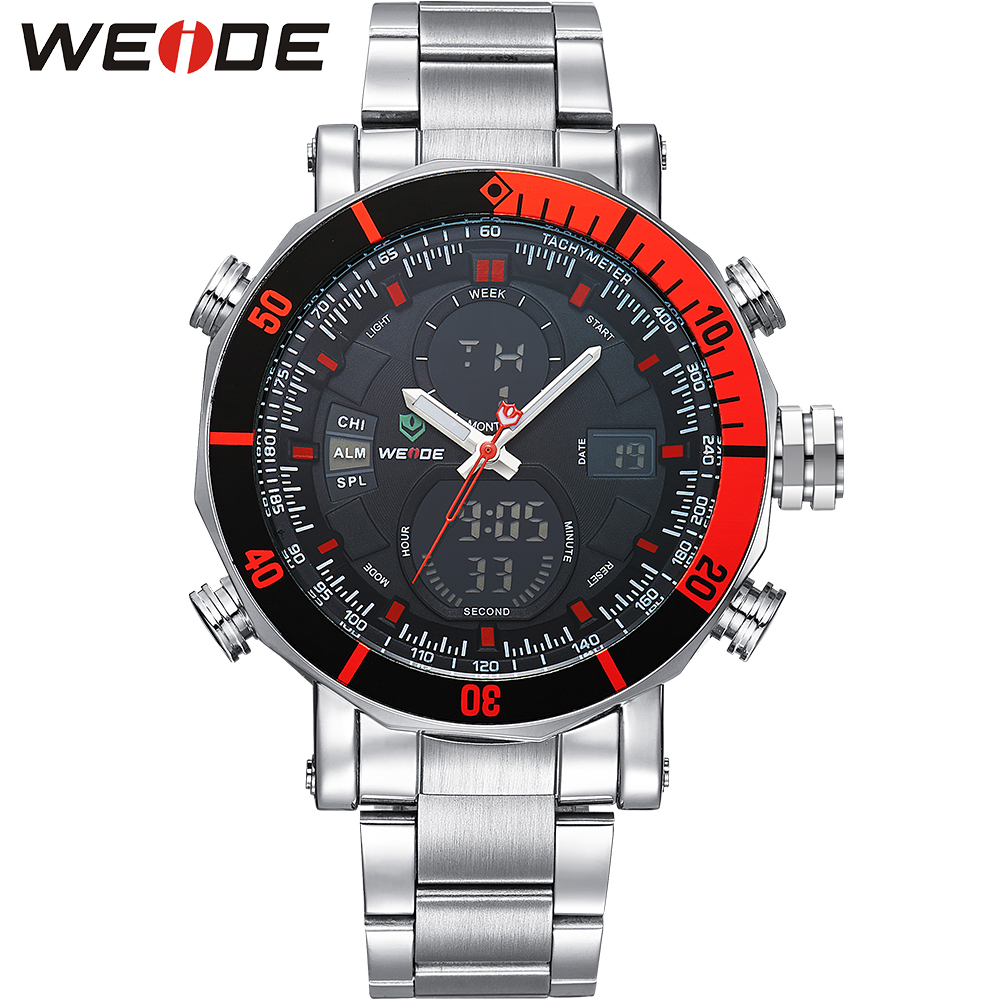 WEIDE Dual Time Zone Analog Quartz Stainless Steel Wrist Watch Date Alarm Stopwatch Backlight Repeater New Luxury Big Dial Clock brand new ohsen rectangle dial digital dual time lcd mens date alarm stopwatch analog quartz sport leather wrist watch ohs034