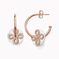 Rose Gold Color Love Knot Shell Disk TS Hinged Hoop Creoles Earrings Thomas Style Glam Good