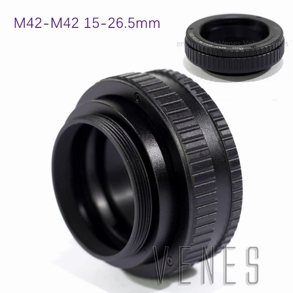 Venes M42 à M42 adaptateur hélicoïdal de mise au point réglable 15-26.5mm 15mm à 26.5mm Macro Tube d'extension vis monture lentille caméra
