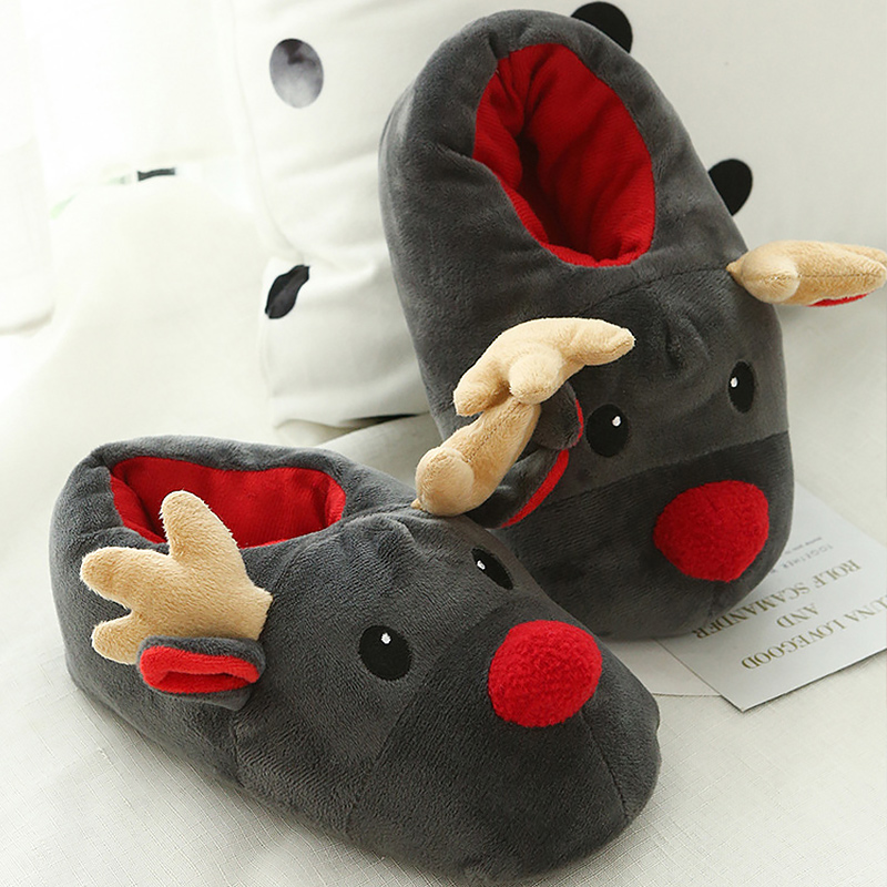 Funny slippers women plush designer Christmas slippers woman non-slip warm slippers winter house woman 2018 fashion 2017 totoro plush slippers with leaf pantoufle femme women shoes woman house animal warm big animal woman funny adult slippers page 7