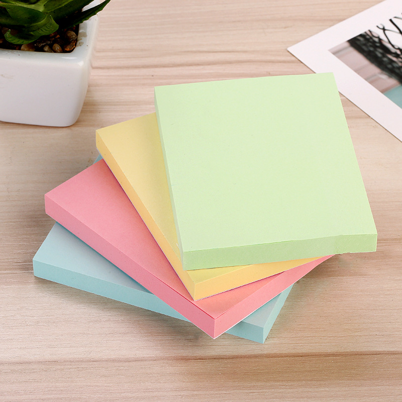 Office Stationery Sticky Notes Square Soild Color Memo Pad 100 Pages Sticker Post Bookmark Point It Marker Memo Sticker Paper
