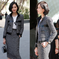 Women Formal Dress Suit Outfit Top Pencil Skirt Set Plaid Autumn Two-Piece Office Lady Jacket and Skirt