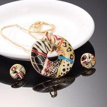 R & X nuevo collar Vintage largo accesorios cadena de oro boda Vestido pendientes collares y colgantes conjunto de joyería de esmalte
