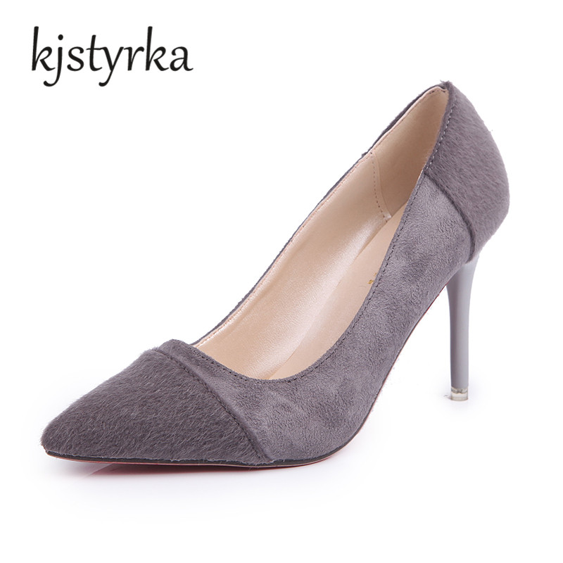 Kjstyrka  Women Pumps 2017 Sexy High Heels Pointed Toe Party Shoes Woman Wedding Office Ladies Pumps Red Gray Zapato Mujer taoffen spring autumn women red wedding shoes woman sexy pointed toe slip on ladies party high heels pumps size 28 52 p24211