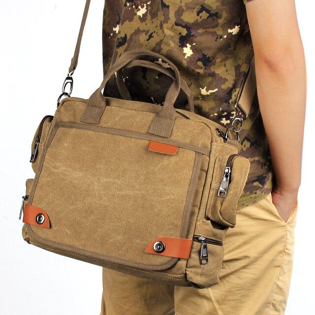 Mens Laptop Messenger Bag Canvas Business Briefcase Handbag Shoulder Phone Computer Notebook Case For
