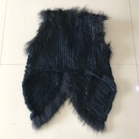 Knitted Rabbit Fur Vest With Natural Pure Raccoon Fur Gilet Waistcoat