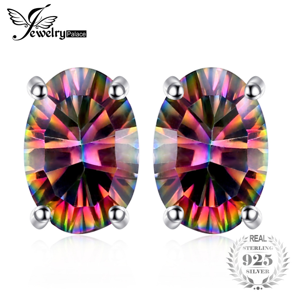 JewelryPalace 1.5ct Genuine Natural Fire Rainbow Mystic Topaz Stud Earrings Oval Solid 925 Sterling Silver Earrings Fashion GiftJewelryPalace 1.5ct Genuine Natural Fire Rainbow Mystic Topaz Stud Earrings Oval Solid 925 Sterling Silver Earrings Fashion Gift