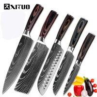 XITUO Высококачественный нож шеф-повара 7CR17 высокоуглеродистой нержавеющей стали японская серия дамасский лазерный Узор 8-in кухонный нож шеф-...