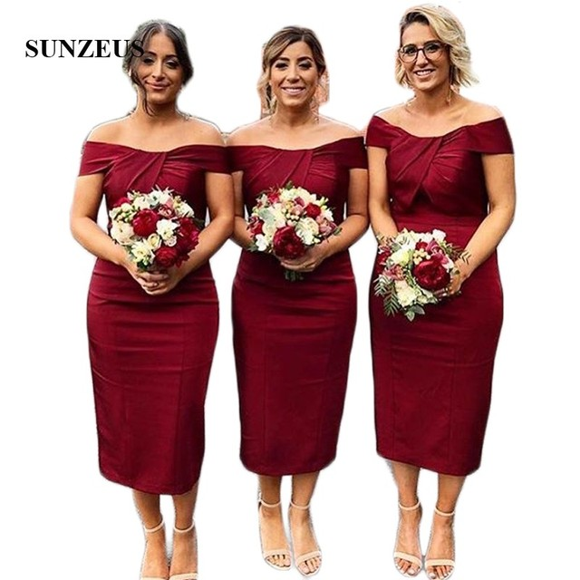 f7628e0003d Dark Red Short Bridesmaid Dresses 2018 Sheath Knee Length Wedding Guest  Dresses Scalloped Pleats Simple Party Dresses SBD96
