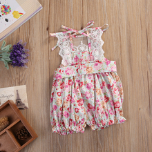 2PCS Baby Set Newborn Kids Baby Girls Clothes Summer Sleeveless Backless Lace Floral Jumpsuit Romper+Hat Baby Outfits Clothes – rose red