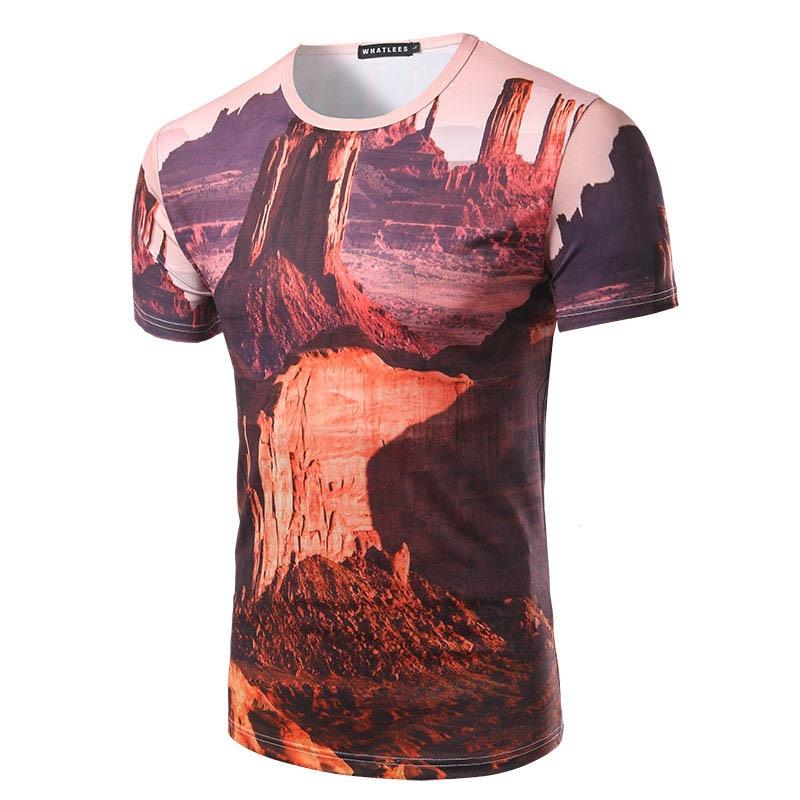 9dc5dffd3499 Nuovi Uomini di Arrivo 3D Print T-Shirt Grand Canyon Pittura del Modello di  Modo Degli Uomini Manica Corta t-shirt uomo Camicia Casual di Alta qualità