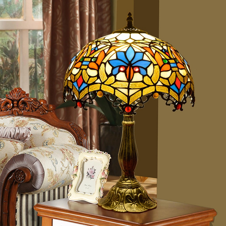Lights & Lighting Nice 12 Inch Stained Glass Table Lamp For Study Room Bar Restaurant Alloy Base Dest Lamps Mediterranean Style 0089 Lamps & Shades