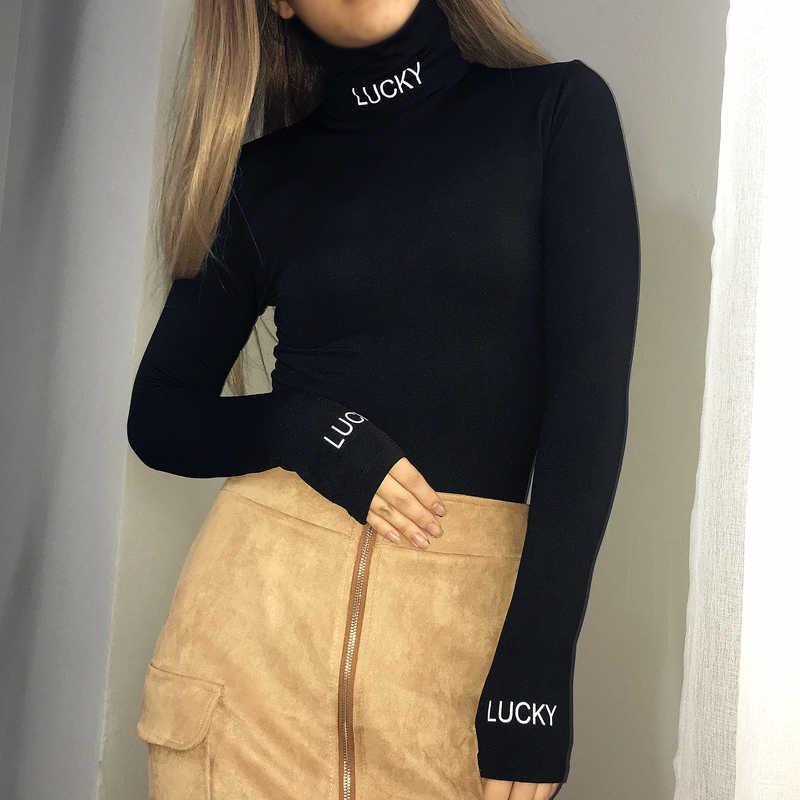 Weekeep mujer Sexy letra negra impresa delgados monos de manga larga de cuello alto de Invierno 2017