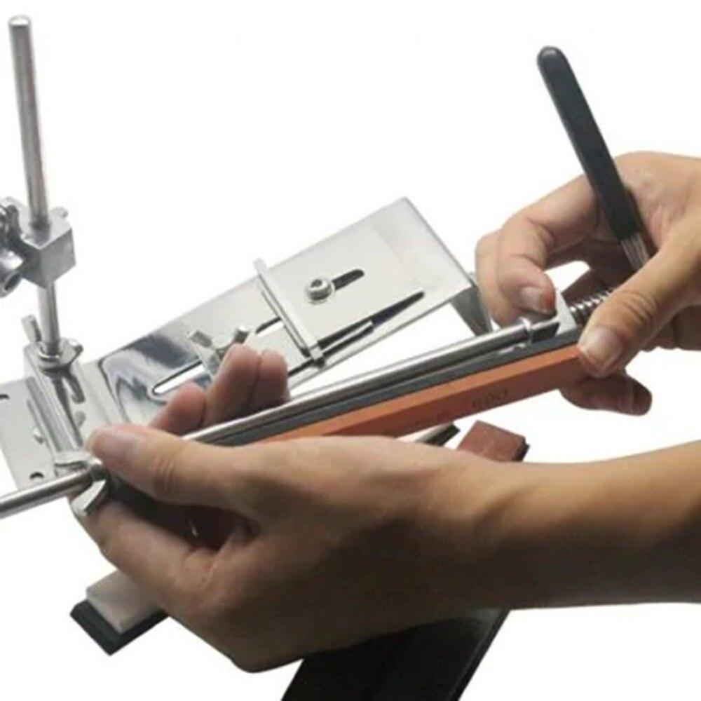 Kit d'affûteuse de couteau à angle fixe amélioré acier inoxydable métal professionnel 4 pierres à aiguiser