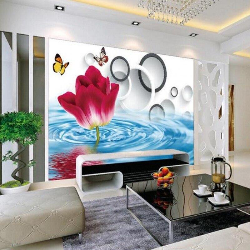 Personnalisé Toute Taille Papier Peint Moderne Minimaliste Salon Rouge  Fleurs Floral Cercles Salle Toile De Fond 3D Photo Papier Peint Beibehang  Dans Fonds ...