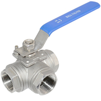 MEGAIRON 1 1/2 DN40 Female 3 Way BSP Stainless Steel 316 Type L Mountin Pad Ball Valve Pipe Fittings