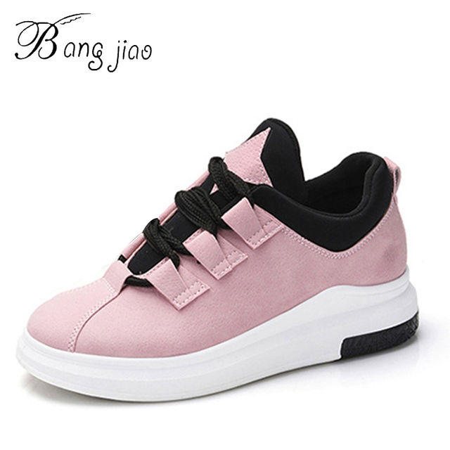 BANGJIAO Round Toe Shoes Women Nubuck Leather Shoe Casual White Shoes For  Girls Lace Thick Sole