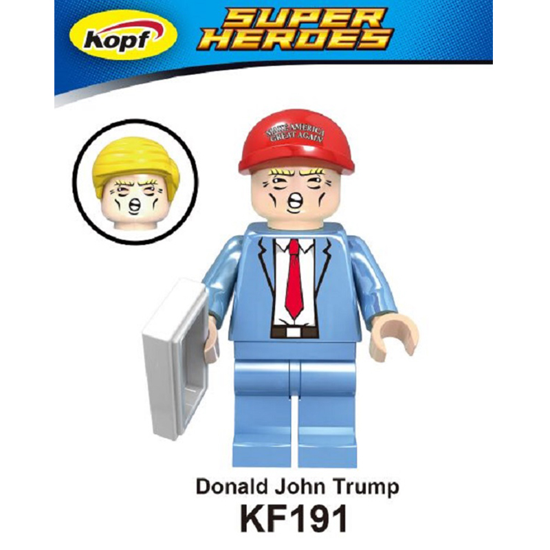Single Sale Donald John Trump With Two Color Hat Luke Skywalker Funny Dolls Super Heroes Building Blocks Kids Gift Toys KF191 single sale super heroes homecoming spiderman with hand spidder