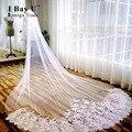 Eu Bay U Real Photo Branco/Marfim 3 M de Comprimento Véus De Noiva Catedral Véu de Noiva Com Comb Voile Mariage 2016 Acessórios Do Casamento