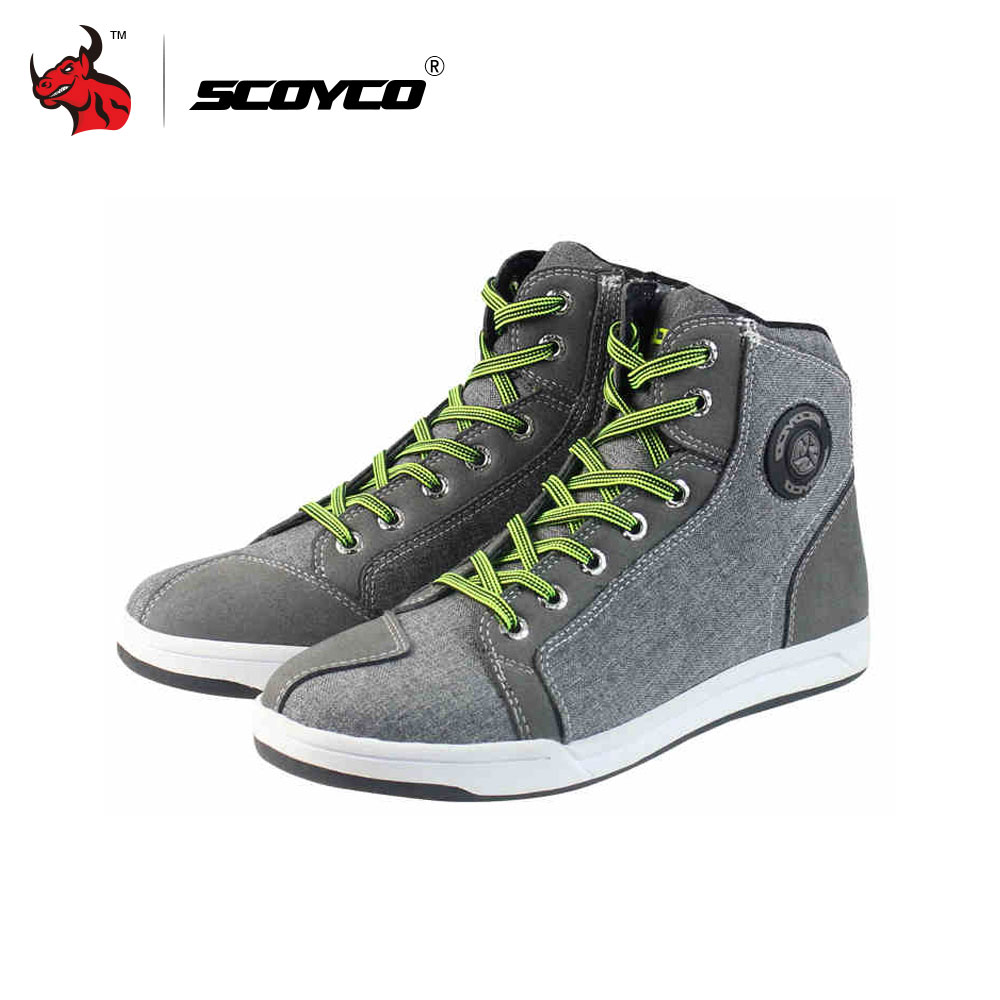 SCOYCO Motorcycle Boots Men Road Street Casual Shoes Bato Motocross Boots Breathable Moto Protective Gear Flax Microfiber scoyco motorcycle riding knee protector extreme sports knee pads bycle cycling bike racing tactal skate protective ear