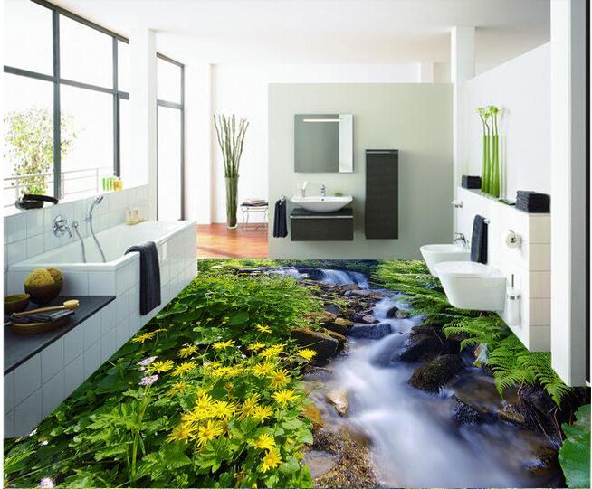 3d plancher papier peint personnalisé étanche 3d plancher pvc Hd ruisseaux herbe fleuron 3 d plancher peinture 3d mur peintures murales papier peint