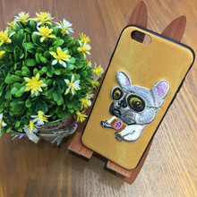 Embroidery 3D Cute Dog Denim Coque Cover Case