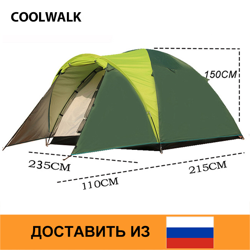 Ship From RU Tents for Family Four Season Dome Tent Outdoor Hiking Camping Traveling Beach Tent One Bed Room and One Living Room 3 4 person large family tent double layer camping tent good quality sun shelter four season gazebo beach tent one room one hall