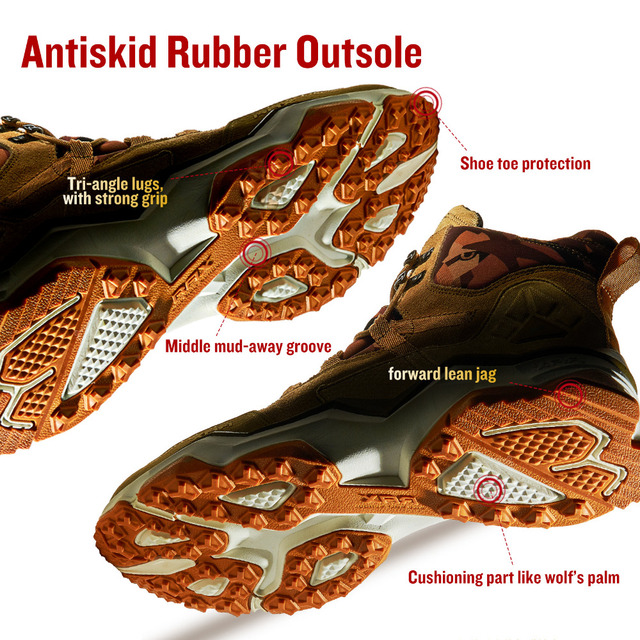 RAX Men Hiking Shoes Mid-top Waterproof Outdoor Sneaker Men Leather Trekking Boots Trail Camping Climbing Hunting Sneakers Women 2