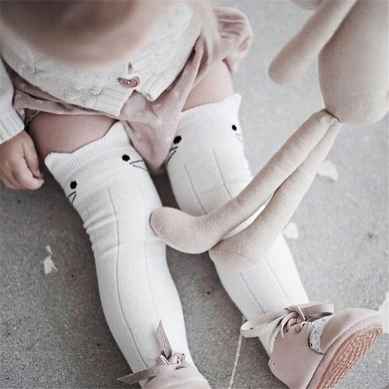 BalleenShiny Cotton Baby Socks Animal Printed Knee High Socks Kids Boy Girl Socks Anti Slip Cute Cartoon Cat Leg Warmers 0-4Y
